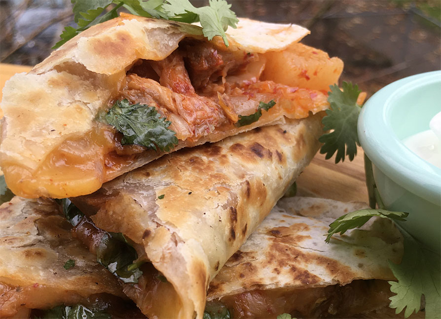 Korean Pork and Kimchi Quesadilla