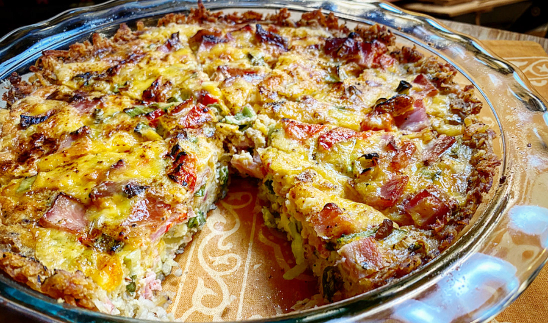 Hash Brown Crust Quiche with Ham and Sharp Cheddar