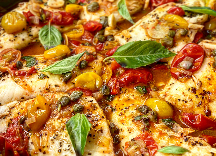 Tilapia in Cherry Tomato and Basil Sauce