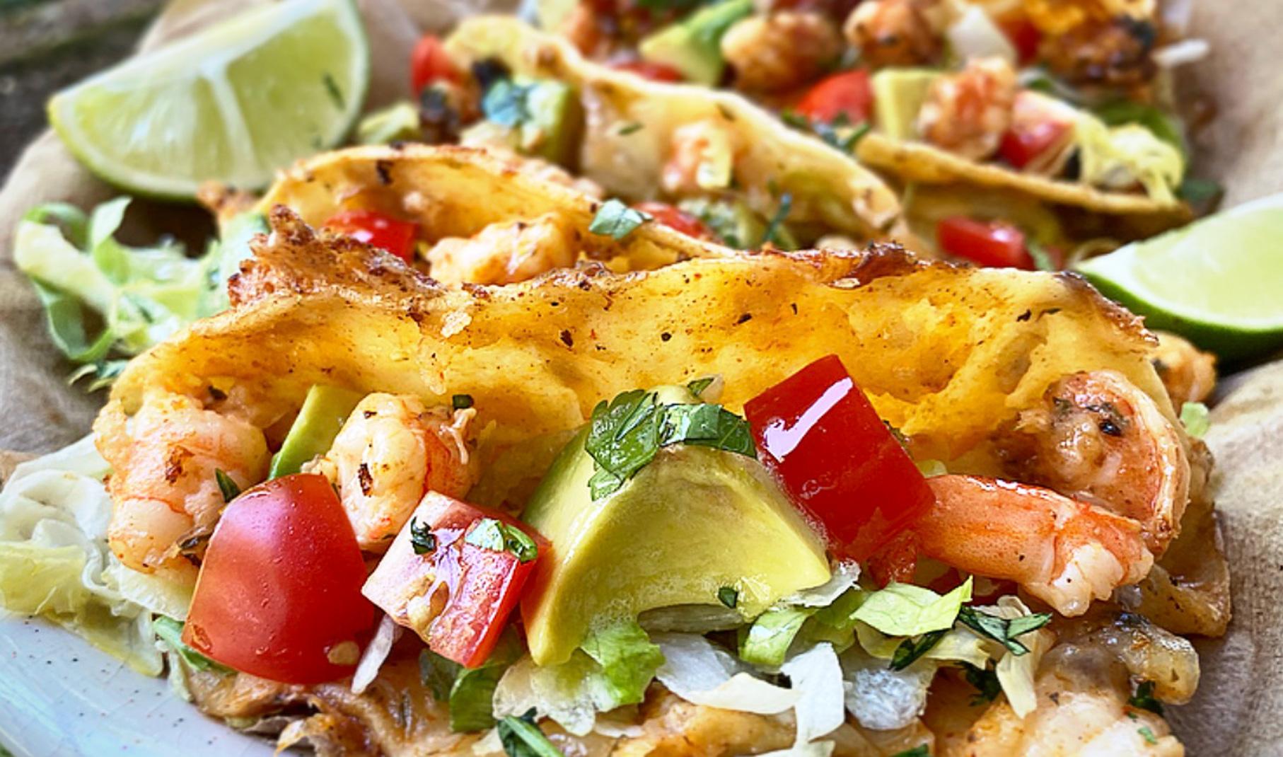 Cheesy Shrimp Tacos